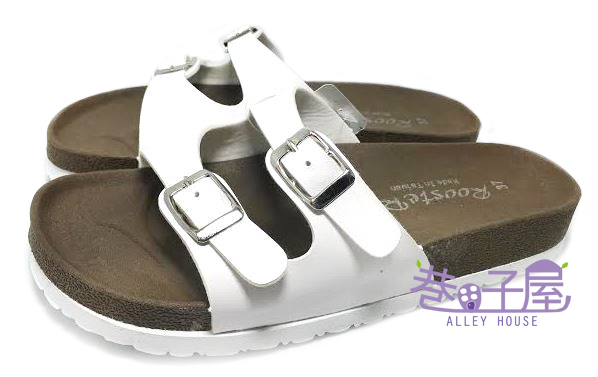 【巷子屋】ROOSTER公雞 女款經典勃肯二槓/條拖鞋 [2331] 白色 MIT台灣製造 超值價$198