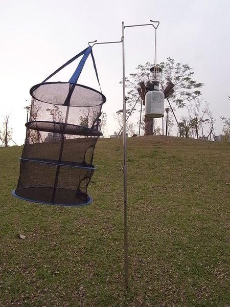 【露營趣】中和 CAMP LAND RV-ST370N 不鏽鋼雙吊勾營燈柱 掛物架 金剛燈柱 露營燈架