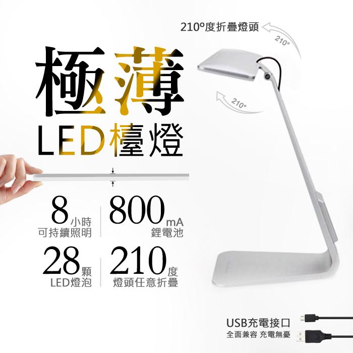 北歐風 極簡 LED檯燈 護眼檯燈 創意超薄折疊觸摸式USB充電檯燈 床頭燈 辦公學習閱讀工作 摺疊收納/TIS購物館