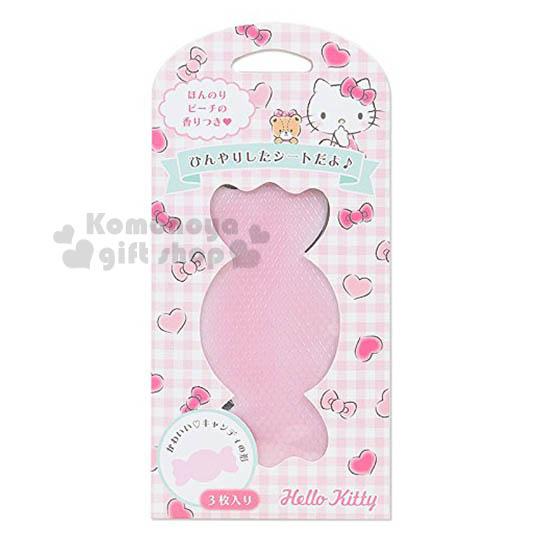 〔小禮堂〕Hello Kitty 糖果造型涼感貼片《3入.粉》水蜜桃香味