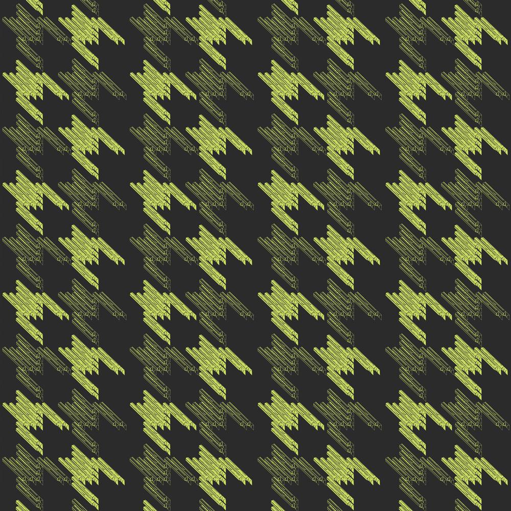 Moody Monday The Secret Music - Black Keys Lime on Black 壁紙 【一套六卷】 「訂貨單位52cm x 10m /套(一套六張壁板)」