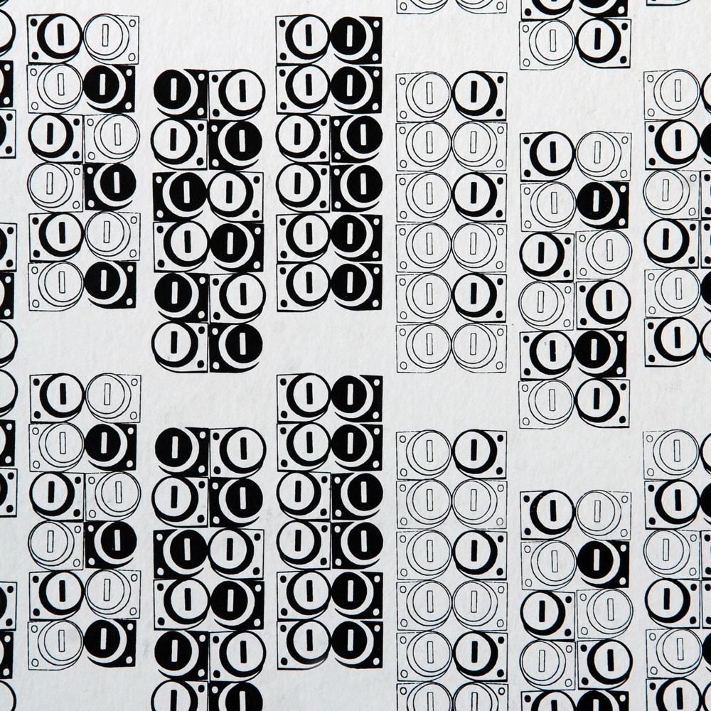 Moody Monday The Secret Music - Modulate Black on White 壁紙 【一套六卷】 「訂貨單位52cm x 10m /套(一套六張壁板)」