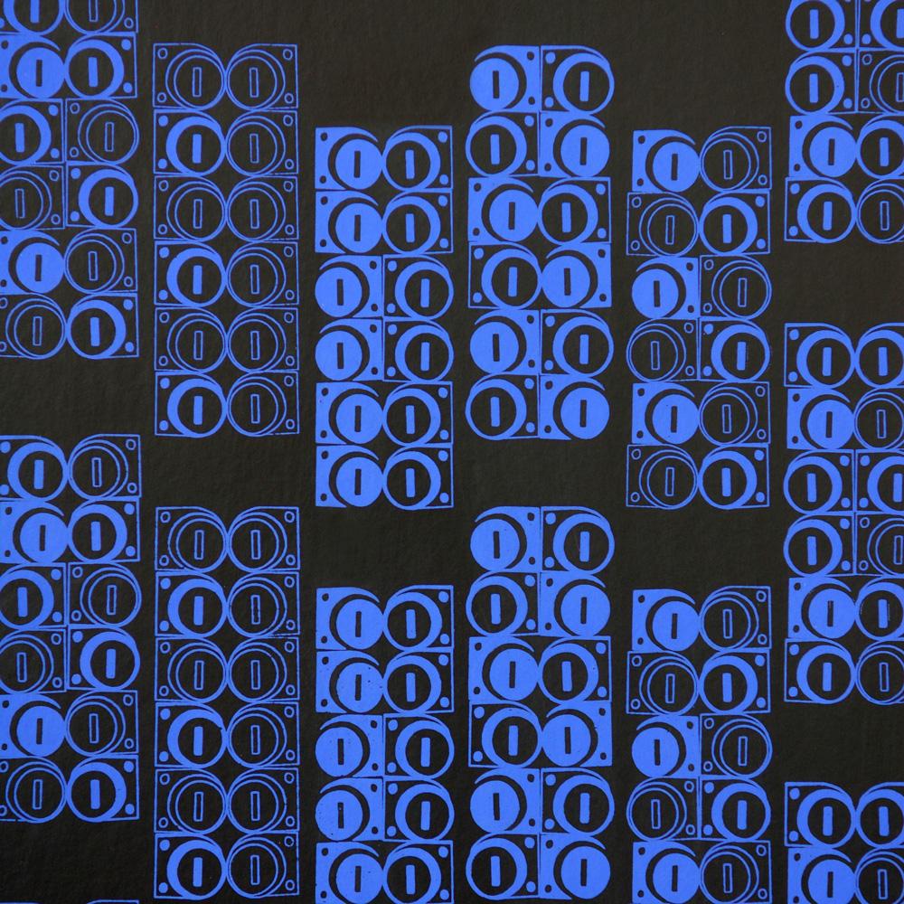 Moody Monday The Secret Music - Modulate R.Blue on Black 壁紙 【一套六卷】 「訂貨單位52cm x 10m /套(一套六張壁板)」