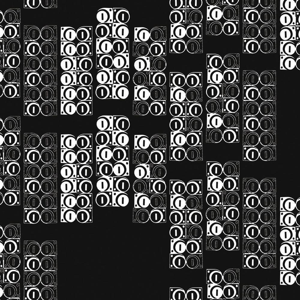 Moody Monday The Secret Music - Modulate White on Black 壁紙 【一套六卷】 「訂貨單位52cm x 10m /套(一套六張壁板)」