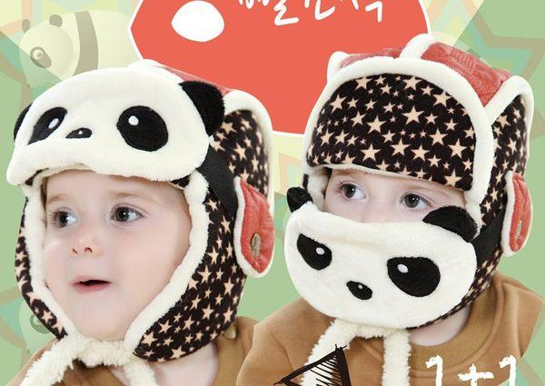 韓版 冬季兒童卡通加絨熊貓雷鋒帽 附口罩二件組 ?77SHOP?