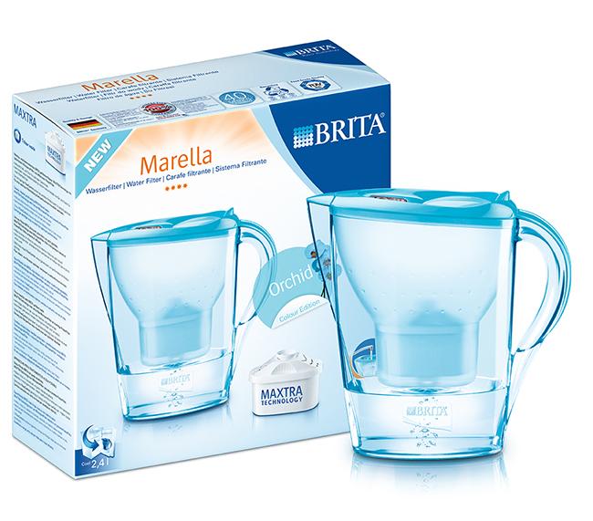 【BRITA 】德國 BRITA馬利拉型花漾壺2.4L-蘭花藍(內附1濾心)+濾芯2入【本組合共3支濾芯】