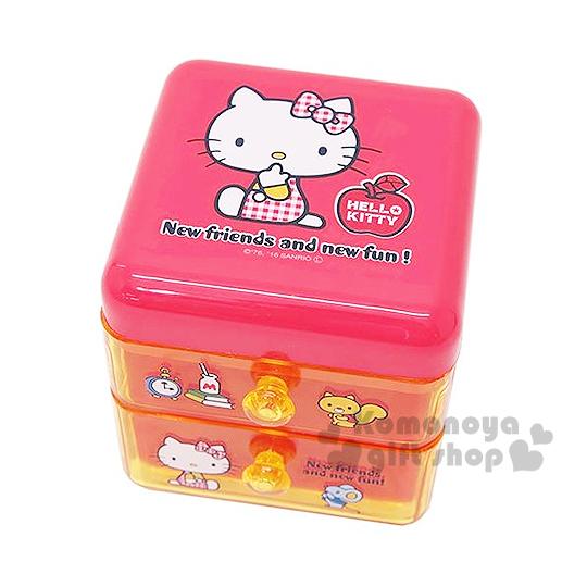 〔小禮堂〕Hello Kitty 桌上型雙抽置物櫃《紅黃.蘋果.側坐》可當飾品盒