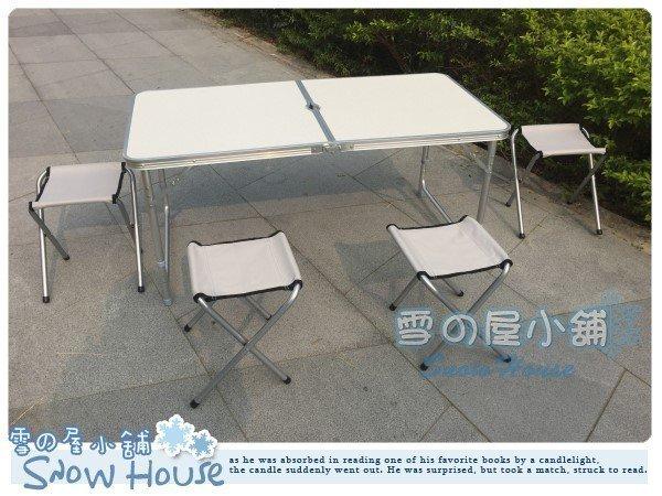 ╭☆雪之屋小舖☆╯@特價優惠@高級鋁合金折合桌折疊桌收納露營野餐桌椅 (一桌四椅)