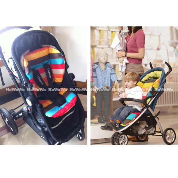 坐墊 加厚防水雙面彩虹座墊 嬰兒手推車棉墊 餐椅墊 JB0552