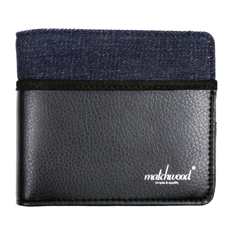 REMATCH - Matchwood Positive 皮夾 錢包 短夾 錢夾 卡夾 丹寧拼接皮料黑款 Herschel / master-piece / HEADPORTER 可參考