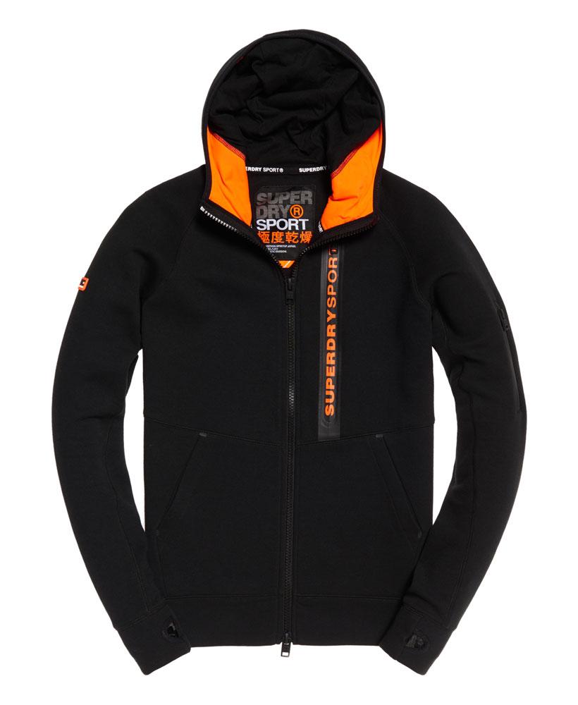 [男款] 英國名品 代購 極度乾燥 Superdry Gym Tech Panel 拉鍊運動男士戶外休閒連帽外套 黑色