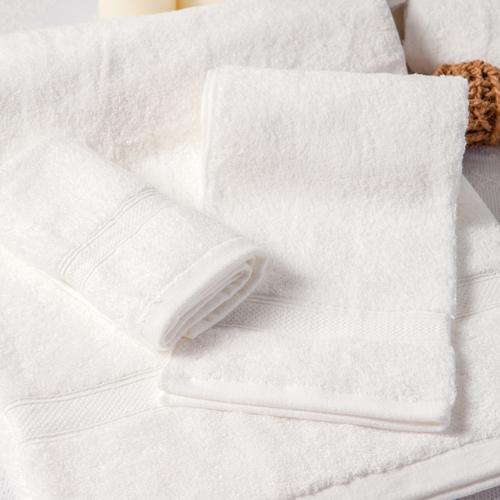 【MORINO摩力諾】美國棉素色緞條毛巾-白色