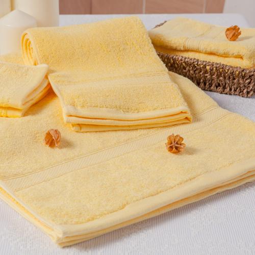 【MORINO摩力諾】美國棉素色緞條毛巾-黃色