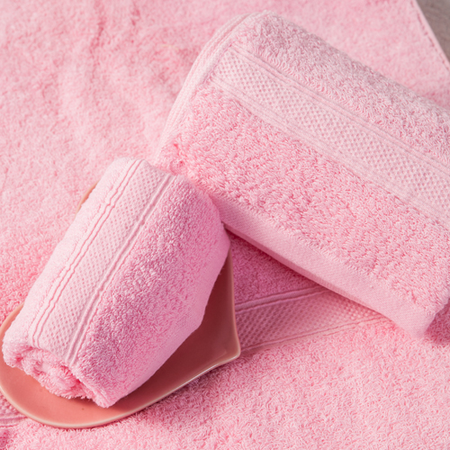 【MORINO摩力諾】美國棉素色緞條毛巾-淡粉