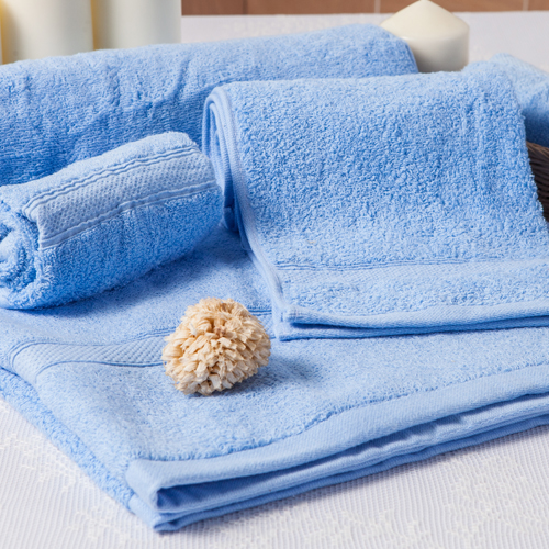 【MORINO摩力諾】美國棉素色緞條毛巾-淡藍