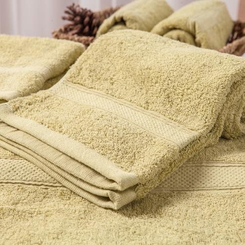 【MORINO摩力諾】美國棉素色緞條毛巾-綠色