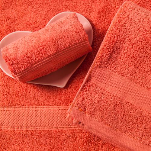 【MORINO摩力諾】美國棉素色緞條毛巾-紅色