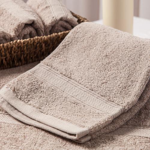 【MORINO摩力諾】美國棉素色緞條毛巾-灰色