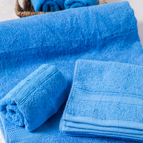 【MORINO摩力諾】美國棉素色緞條毛巾-藍色