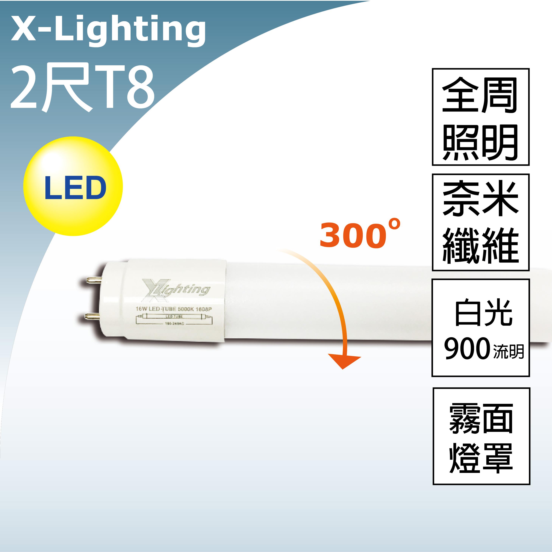 LED T8 2尺 奈米玻纖 競技版 燈管(白) 全周光 霧面 EXPC X-LIGHTING