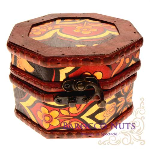 【Barocco Nuts】[藏寶箱] 5吋八角盒-復古深黑底圖騰花藏寶盒(仿古/金銀島/可可島/化妝盒/寶藏盒/珠寶盒/首飾盒/古典木箱/復古首飾盒)