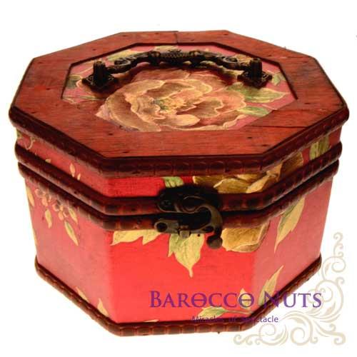 【Barocco Nuts】[藏寶箱] 7吋八角盒-復古大紅底金牡丹藏寶盒(仿古/金銀島/可可島/化妝盒/寶藏盒/珠寶盒/首飾盒/古典木箱/復古首飾盒)