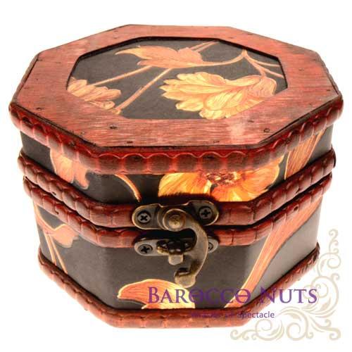 【Barocco Nuts】[藏寶箱] 5吋八角盒-復古深藍底大金菊藏寶盒(仿古/金銀島/可可島/化妝盒/寶藏盒/珠寶盒/首飾盒/古典木箱/復古首飾盒)