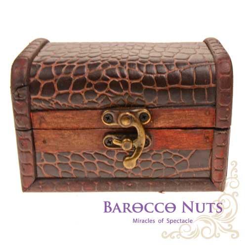 【Barocco Nuts】[藏寶箱] 4.5吋小方盒:復古鱷魚紋藏寶盒(仿古/金銀島/可可島/化妝/寶藏盒/珠寶盒/首飾盒/古典木箱/復古首飾盒)