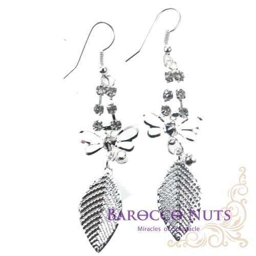 【Barocco Nuts】[造型搭配] 耳環系列:白銀水鑽蜻蜓點葉耳環(首飾/耳飾/垂吊型/耳勾式/個性耳環/創意造型/昆蟲/青春活力/純潔典雅/派對/舞會)