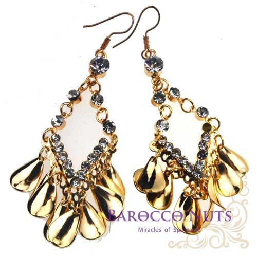 【Barocco Nuts】[造型搭配]耳環系列:亮金色水鑽菱框水滴串耳環(首飾/耳飾/垂吊型/耳勾式/風格耳環)