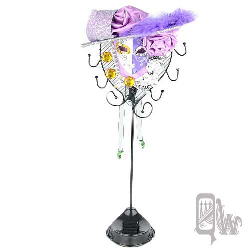 【Barocco Nuts】[飾品架]水鑽 玫瑰帽 面具-雙色 白紫 女伶(首飾架/戒指架/項鍊架/耳環架/飾品架/吊飾架/手環架)