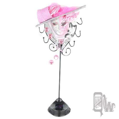 【Barocco Nuts】[飾品架]水鑽 玫瑰帽 面具-雙色 銀粉 女伶(首飾架/戒指架/項鍊架/耳環架/飾品架/吊飾架/手環架)