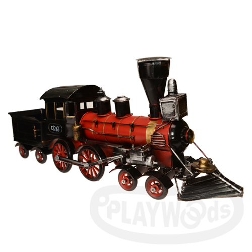 【Barocco Nuts】[懷舊古玩]載具:金屬製 紅黑色 老式鐵皮風格C1266蒸汽煤礦火車頭 /Steam Train(真岡鐵道/蒸汽機車/鐵路列車/阿里山小火車/貨車) 聖誕/交換