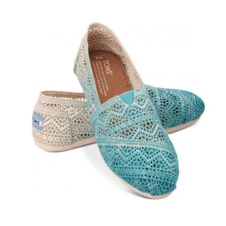 【TOMS】藍色漸層蕾絲平底休閒鞋 Zig Zag Crochet Baltic Dip-Dyed Women\