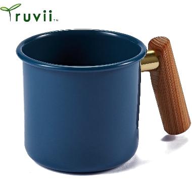 [ Truvii ] 木柄琺瑯杯/木頭琺瑯杯/琺瑯咖啡杯/日系雜貨風馬克杯 250ml波斯藍