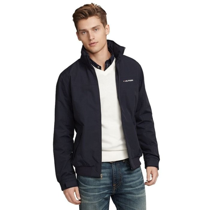美國百分百【全新真品】Tommy Hilfiger 外套 收納帽 防水 TH 夾克 大衣 風衣 深藍 男 S XL號 B994