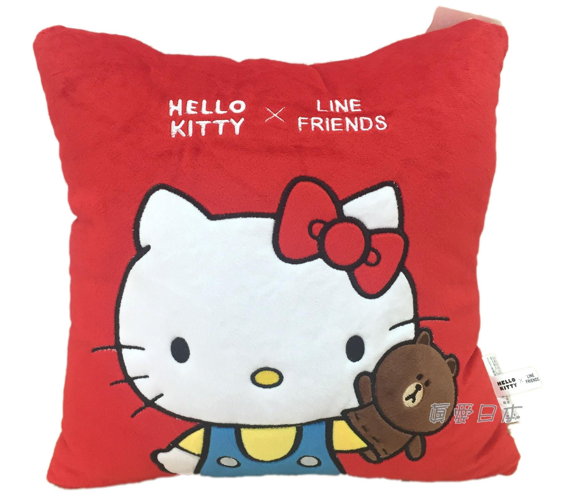 【真愛日本】16070600020 LINE聯名方抱枕-KT熊大手偶 三麗鷗 Hello Kitty 凱蒂貓 娃娃 抱枕 靠枕