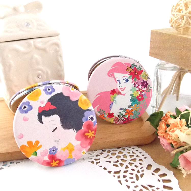 【Disney 】可愛圓形雙面折疊鏡/化妝鏡/隨身鏡-花漾