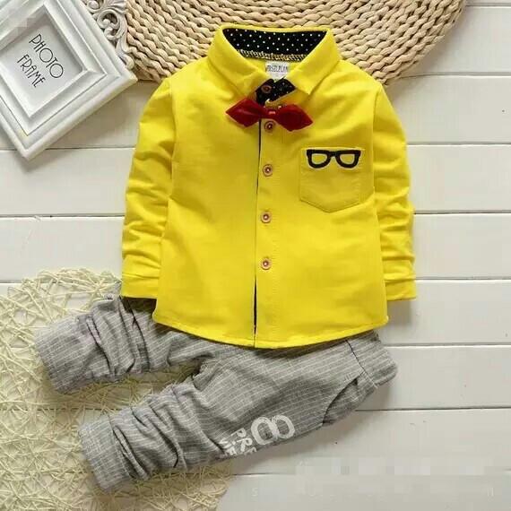 長袖套裝寶寶新款純棉領結襯衫男童