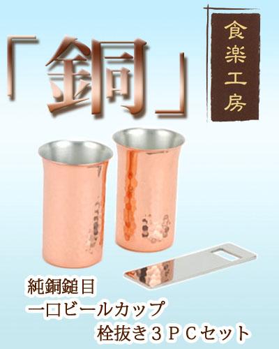 日本ASAHI食樂工房CNE922啤酒杯&飲料杯(2入)附開瓶器/純銅製