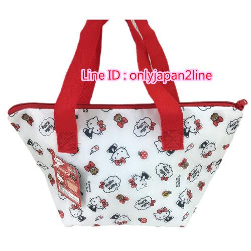 【真愛日本】16100700009保冷保溫便當袋-KT蘋果 三麗鷗 Hello Kitty 凱蒂貓 手提袋 造型提袋 便當袋 正品
