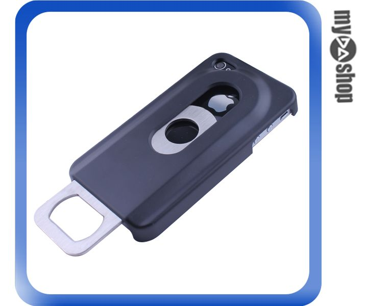 《DA量販店》蘋果 iphone4 4S 創意 開瓶器 手機殼 保護殼 保護套 皮套 黑色(80-0500)