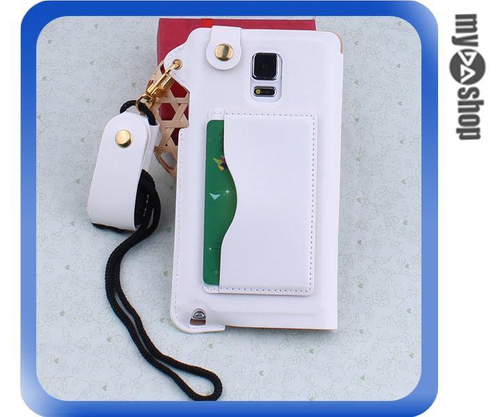 《DA量販店》三星 Samsung note4 掛繩 插卡式 皮套 支架 手機套 白色(80-1804)