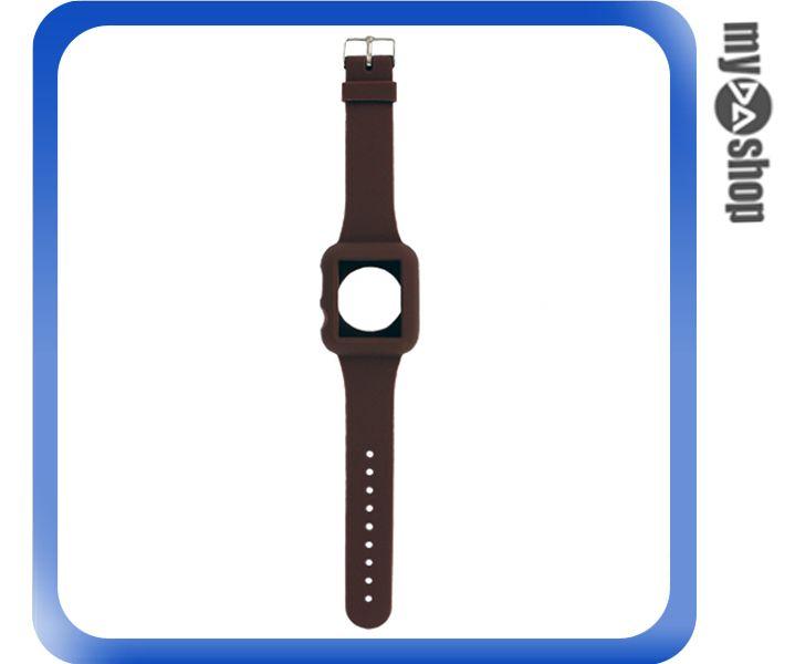 《DA量販店》Apple watch sport 38mm 矽膠套 保護殼 錶帶 棕色(80-2044)