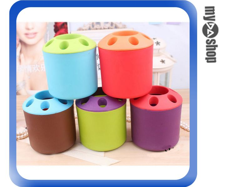 《DA量販店》撞色 糖果色 多孔 筆筒 收納筒 二合一 牙膏座 牙刷座 顏色隨機(V50-0143)