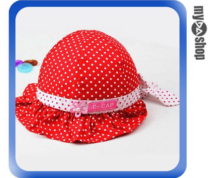 《DA量販店》春夏 點點 小花 蝴蝶結 嬰兒帽 荷葉邊 寶寶帽 遮陽帽 紅色(V50-0358)