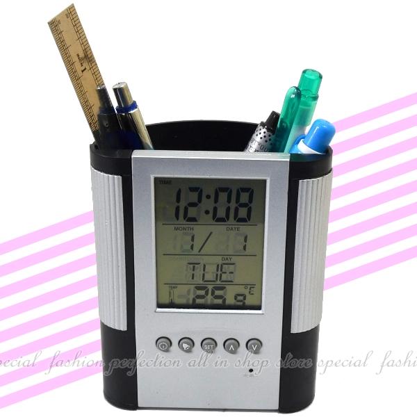 黑色筆筒數字鐘 電子萬年曆時鐘 液晶螢幕電子鐘 鐘 溫度計 計時器【DB435】◎123便利屋◎