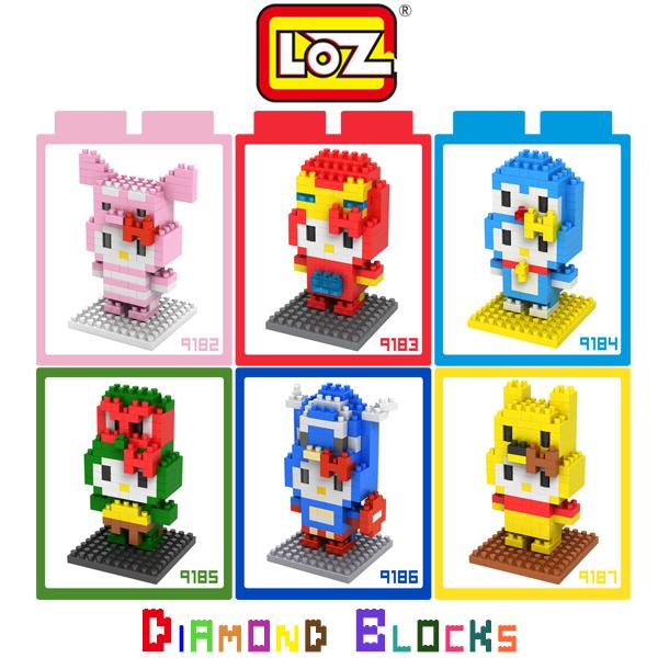 強尼拍賣~LOZ 鑽石積木 9182 - 9187 kitty 卡通裝系列 鋼鐵人 哆啦A夢 忍者龜 美國隊長 小熊維尼
