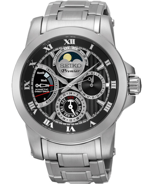 Seiko Premier 5D88-0AG0D(SRX013J1)人動電能萬年曆月相經典腕錶/黑面41mm
