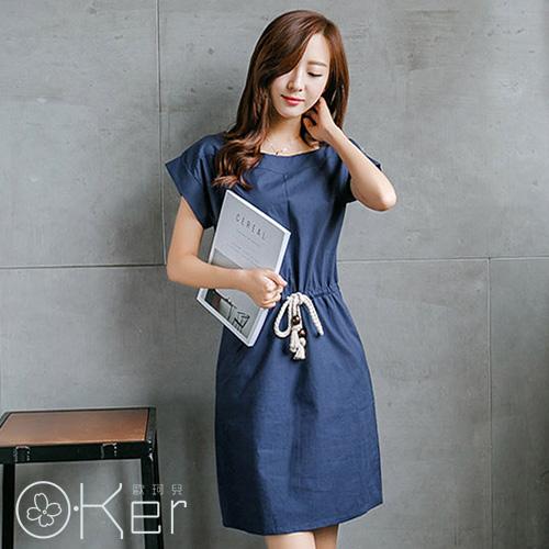 流行棉麻款復古收腰短袖連衣裙 O-Ker歐珂兒 LL88101-1